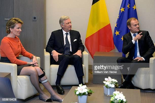 Visite officielle du Roi Philippe et la Reine Mathilde aux institutions de l'Union Européenne à Bruxelles Conseil de l'Union Européenne Officieel...