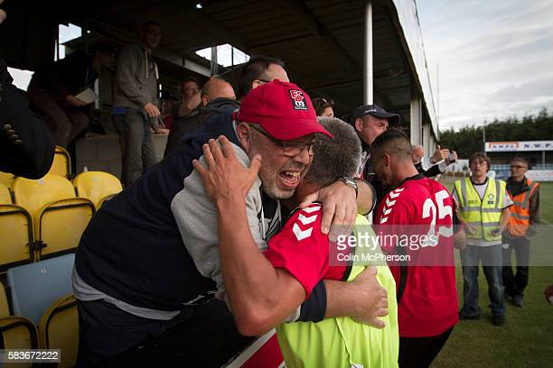 Visiting captain Philippe Lebresne is congratulated by a fan after the Europa League first qualifying round second leg tie between Bala Town from...