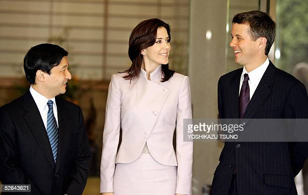 Visiting Danish Crown Prince Frederik and his Australian-born wife Crown Princess Mary are greeted by Japanese Crown Prince Naruhito for their...
