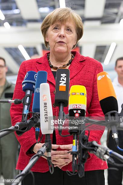 Visiting German Chancellor Angela Merkel at the Tactical Air Force Sqadron 31 Boelke. Merkel during her statement.