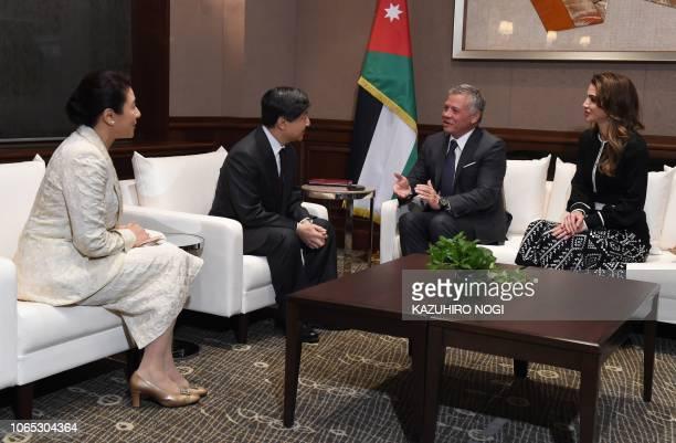 Visiting Jordanian King Abdullah II and Queen Rania alYassin greet with Japan's Crown Prince Naruhito and Crown Princess Masako at a hotel in Tokyo...
