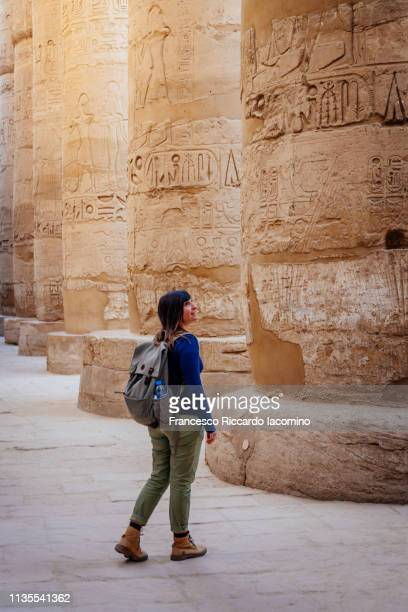 Visiting Karnak Temple, Luxor, Egypt. Columns in the Peristyle Court