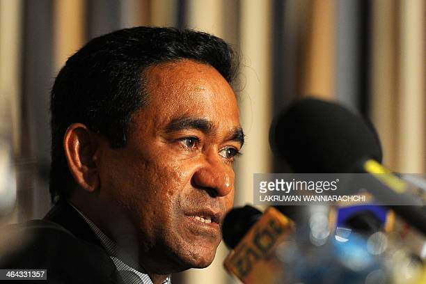 Visiting Maldives President Abdulla Yameen Abdul Gayoom addresses a press conference in Colombo on January 22 2014 The Maldives President arrived on...