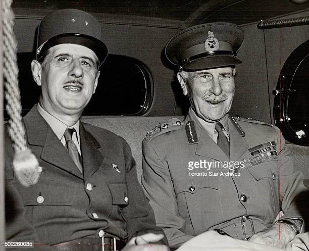 Visiting Ottawa en route to France after visiting the US Gen Charles de Gaulle president of the provisional government of France is shown leaving the...