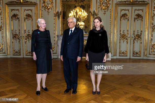 Visiting President of Italy Sergio Mattarella and his daughter Laura Mattarella is received by Queen Marghrethe of Denmark at Amalienborg Palace on...