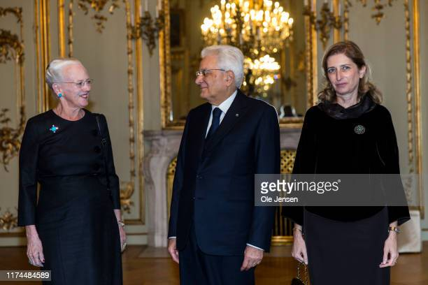 Visiting President of Italy, Sergio Mattarella and his daughter Laura Mattarella , is received by Queen Marghrethe of Denmark at Amalienborg Palace...
