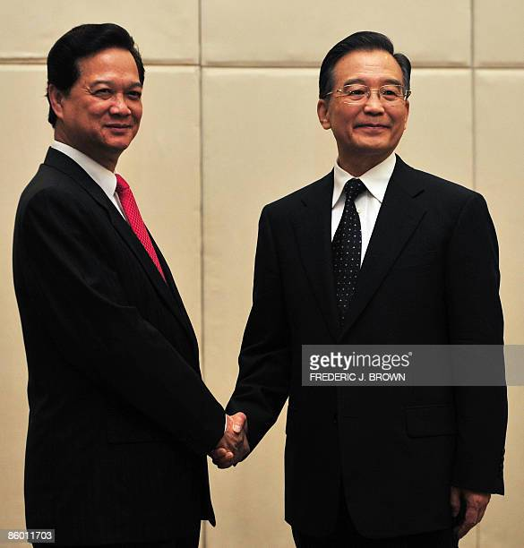 Visiting Prime Minister of Vietnam Nguyen Tan Dung meets with his Chinese counterpart Wen Jiabao in Sanya on April 17 2009 for bilateral meetings...