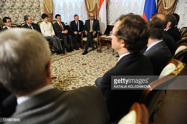 Visiting Singapore's Deputy Prime Minister Tharman Shanmugaratnam meets his Russian counterpart Deputy Prime Minister Vyacheslav Volodin in Moscow on...