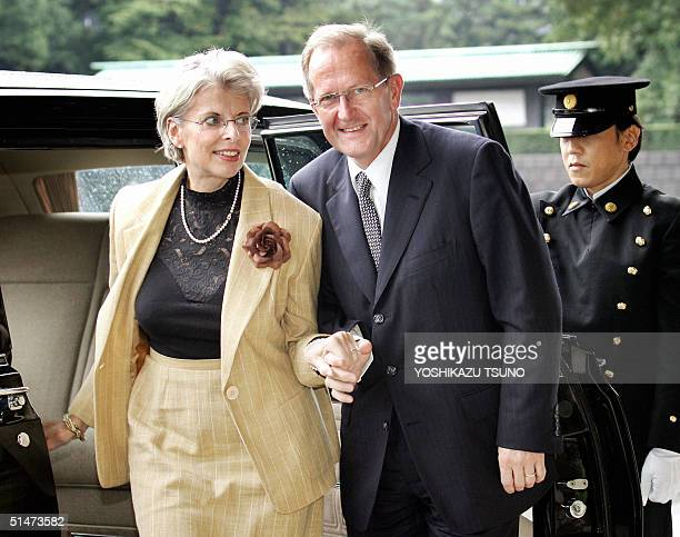 Visiting Swiss President Joseph Deiss and his wife Elizabeth arrive at the Imperial Palace in Tokyo to meet with Japanese Emperor Akihito 13 October...