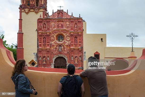 visiting the landa mission - queretaro state stock pictures, royalty-free photos & images