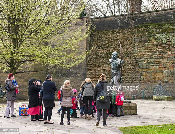 visiting the robin hood statue in nottingham - nottingham stock photos and pictures