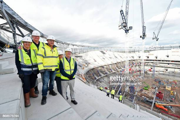 KINGDOM Visiting Tottenham Hotspur's new stadium are DonnaMaria Cullen Roger Goodell Daniel Levy and Mark Waller at White Hart Lane on October 28...
