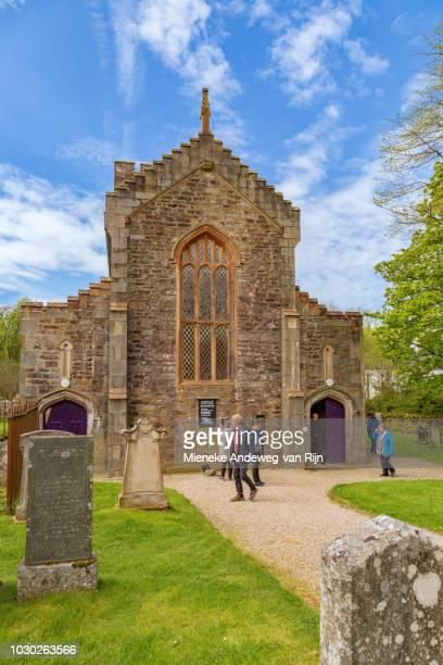 Visiting tourists at Kilmartin Parish Church, Argyll and Bute, Scotland, United Kingdom