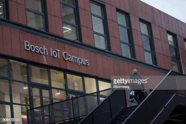 A visitor arrives at the Robert Bosch GmbH Internet of Things campus in Berlin Germany on Thursday Jan 18 2018 Germanys largest union failed to make...
