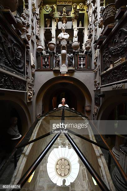 Visitor Assistant Emily McCarthy poses with the sarcophagus of Seti the First in the Sepulchral Chamber of The Sir John Soanes Museum on September 12...