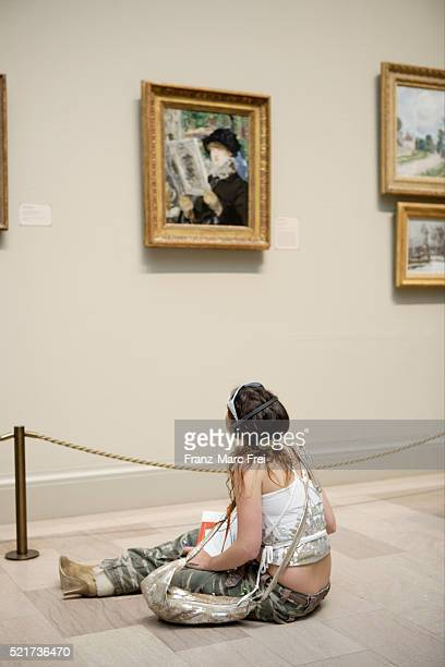 visitor at art institute of chicago - art institute of chicago stock pictures, royalty-free photos & images