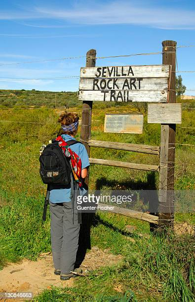 Visitor at the entrance to the Sevilla Rock Art Trail, site of prehistoric rock paintings of the Bushmen, Cederberg Mountains, Western Cape Province, South Africa, Africa