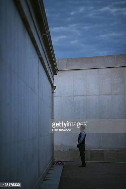 Visitor attends a Candlelit Vigil to mark the centenary of the First World War, at The National Memorial Arboretum on August 4, 2014 in Stafford,...
