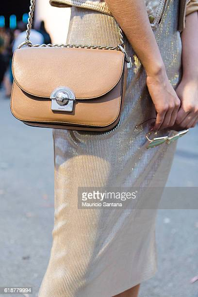 A visitor bag detail poses during Sao Paulo Fashion Week Trans 42 SPFW Fall / Winter 2017 on October 27 2016 in Sao Paulo Brazil