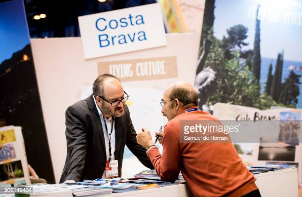 Visitor chatting with Costa Bravas«s staff at FITUR International Tourism Fair 2018 at Ifema on January 17 2018 in Madrid Spain Prime Minister...