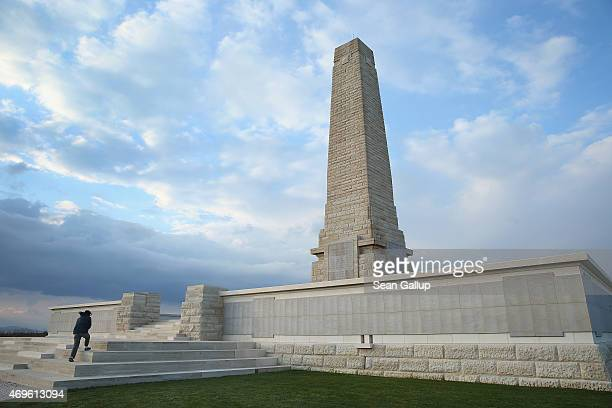 Visitor climbs the steps at the Helles Memorial, which commemorates Allied soldiers who died during the Gallipoli Campaign, on April 8, 2015 at Sedd...