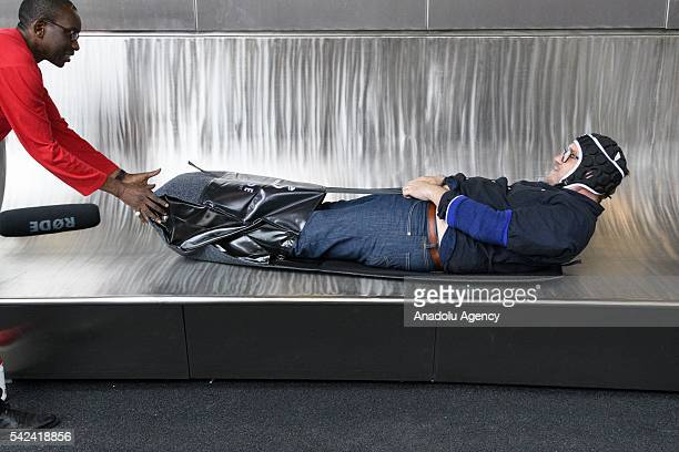 Visitor comes out of the slide at the ArcelorMittal Orbit in London United Kingdom on June 23 2016