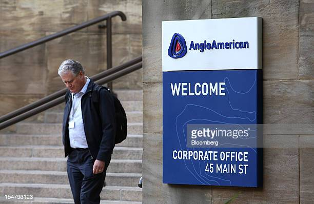 A visitor descends stairs outside the offices of Anglo American Plc in the Marshalltown district of Johannesburg South Africa on Friday Oct 26 2012...