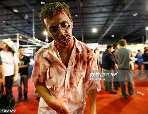 A visitor dressed with a costume of a zombie poses during Argentina ComicCon 2015 at Costa Salguero Center on November 06 2015 in Buenos Aires...