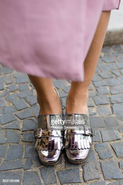 A visitor fashion detail shoes poses during Sao Paulo Fashion Week N43 SPFW Summer 2017 on March 13 2017 in Sao Paulo Brazil
