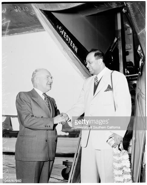 Visitor from Pakistan 16 June 1952 Hassan KhayyamMayor Fletcher BowronMohammed Ali Mrs Hassan KhayyamLos Angeles California USA