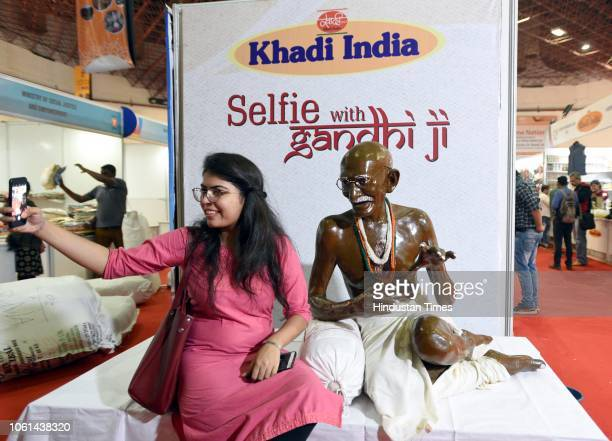 A visitor gets a selfie clicked at Khadi India Pavilion during the 38th India International Trade Fair 2018 at Pragati Maidan on November 14 2018 in...
