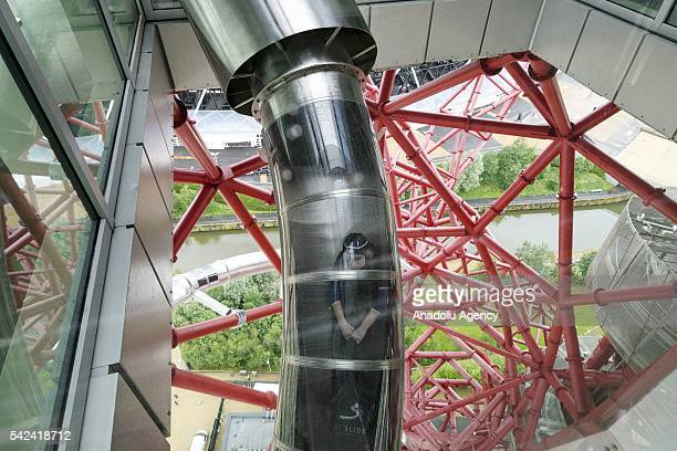 Visitor goes down the slide at the ArcelorMittal Orbit in London United Kingdom on June 23 2016