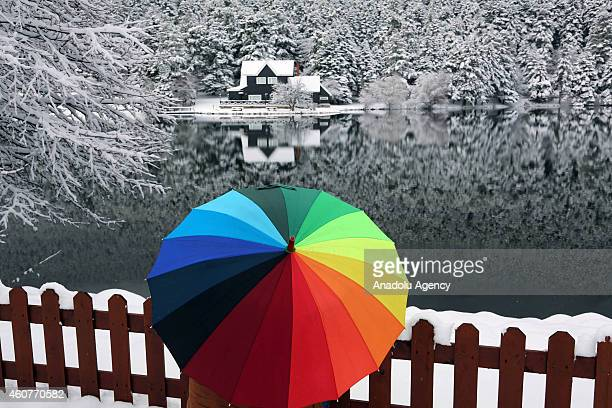 A visitor holds an umbrella as she watches the winter landscape around the Golcuk Natural Park in Bolu a city in Turkey on December 22 2014