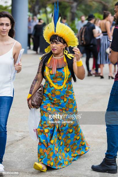 A visitor indian poses during Sao Paulo Fashion Week N43 SPFW Summer 2017 on March 14 2017 in Sao Paulo Brazil