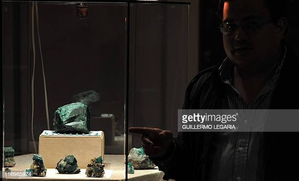 A visitor look at the largest emerald in the world called 'Fura' of 11000karat raw and 227 kilos during the 'Minergemas 2011' exhibition of mining...