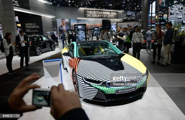 Visitor look to a BMW i8 car at the 2017 Frankfurt Auto Show on September 12 2017 in Frankfurt am Main Germany The Frankfurt Auto Show is taking...