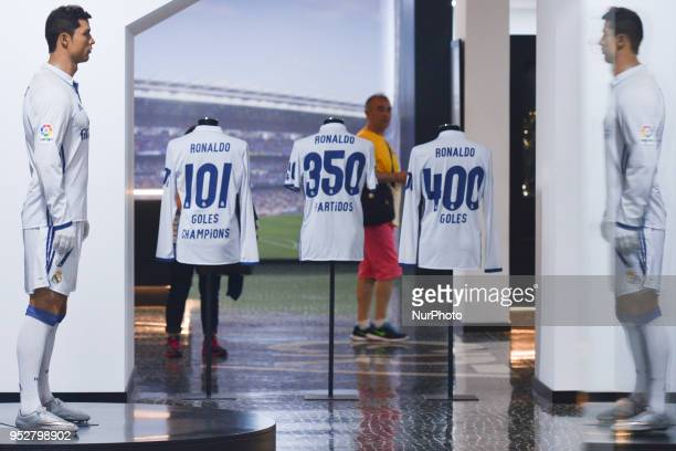 A visitor looks at a Cristiano Ronaldo waxwork inside the CR7 Museum located in Funchal seafront on the island of Madeira where Portuguese football...