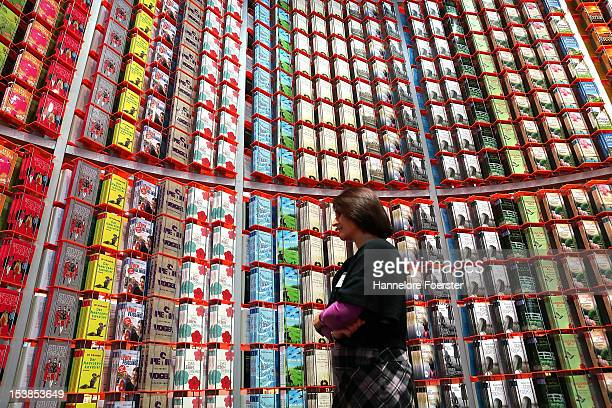 Visitor looks at a display of books at the Droemer stand at the Frankfurt Book Fair on October 10, 2012 in Frankfurt, Germany. The Frankfurt Book...