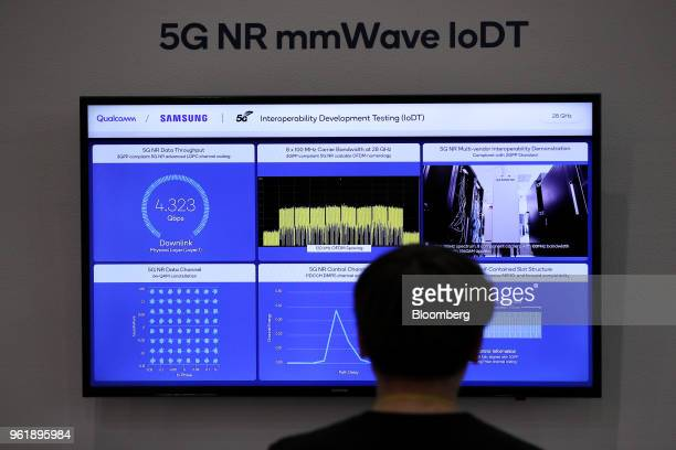 A visitor looks at a monitor showing Qualcomm Inc 5G Interoperability Development Testing at the company's booth at the World IT Show 2018 in Seoul...