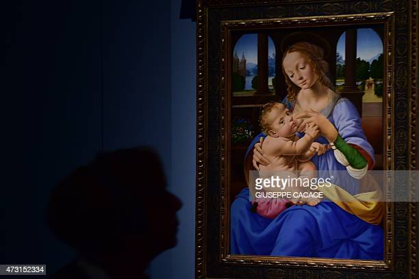 A visitor looks at a painting entitled Madonna with baby as part of the exhibition Leonardo Da Vinci at the Palazzo Reale museum on May 13 2015 in...