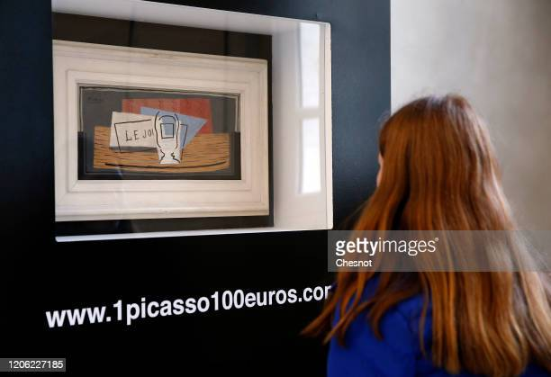 """Visitor looks at a painting entitled """"Still life"""" by Spanish artist Pablo Picasso at Picasso museum on February 14 in Paris, France. A lottery will..."""