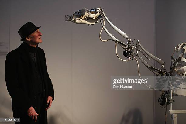 A visitor looks at a piece of work entitled 'Exoskeletal' by artist Christiaan Zwanikken during the Kinetica Art fair on February 28 2013 in London...