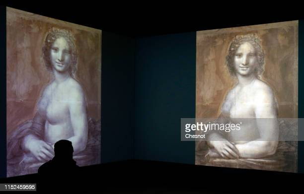 A visitor looks at a slideshow of charcoal drawings depicting the Monna Vanna also dubbed The Nude Mona Lisa by Italian artist Leonardo da Vinci...