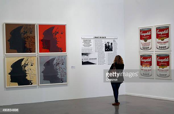 A visitor looks at an artwork entitled 'Campbells Soup II' by US artist Andy Warhol during the 'Warhol Unlimited' exhibition at the Musee d'art...