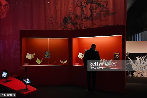 A visitor looks at erotic graphic novels displayed at the Comics Unmasked Art and Anarchy in the UK exhbition at the British Library in central...