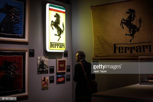 A visitor looks at exhibits on display at the 'Ferrari Under the Skin' exhibition at the Design Museum on November 14 2017 in London England £140M...