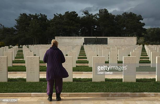 Visitor looks at graves of Turkish soldiers killed in the Gallipoli campaign at the Akbas Martyrs' Memorial on April 6, 2015 near Eceabat, Turkey....