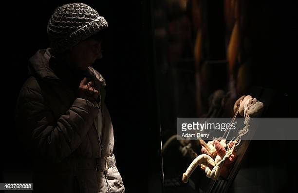 A visitor looks at plastinated human reproductive organs on the opening day of the Bodyworlds exhibition in the Menschen Museum on February 18 2015...