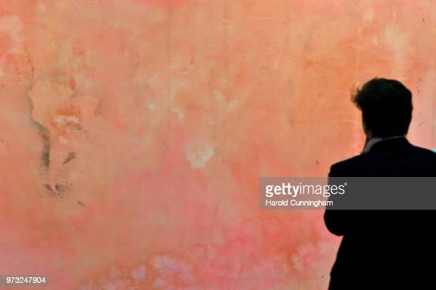 A visitor looks at the artwork of Frank Bowling 'False Start' during the press preview for Art Basel at Basel Messe on June 13 2018 in Basel...
