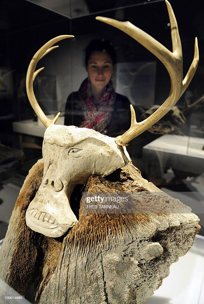 A visitor looks at the 'L'esprit du caribou' (the spirit of the caribou) sculpture on May 20, 2010 shown at the Daoulas abbey as part of the 'Grand Nord, Grand Sud' exhibition devoted to Aboriginal and Inuit art. The event, running until November 28, 2010, brings together 160 works including sculptures, paintings, photographs and videos on common themes «creativity and space», «authenticity, meeting, mixing», «myths and modernity».